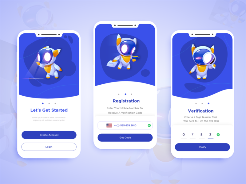 Onboarding Blue interface vector neat and clean illustration creative agency branding registration onboarding screens mobile design creative modern