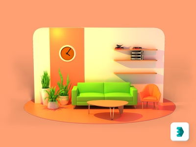 3D Living Room modern interface website colorful branding concept design creative 3d art 3dsmax vector illustration