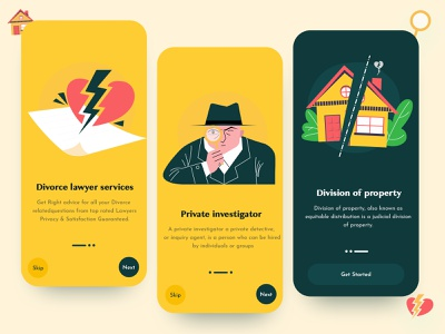 On-boarding for lawyers : App Design creative branding onboarding screens onboarding ui lawyer app 2021 trend modern design app design lawyers onboarding