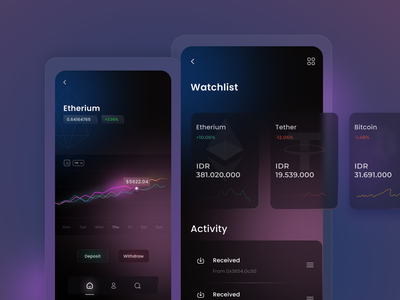 Cryptocurrency App cryptocurrency app investment app uiux ui creative interface branding modern mobile app ui cryptocurrency crypto exchange ethereum