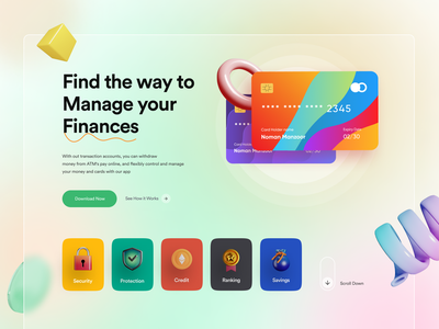 Finance Landing Page | Website Main Page Design | Manage Finance fintech financial technology financial services interface banking card web design financial fintech landing page banking website finance debit card credit card finance business transaction landing page website design branding ui home page