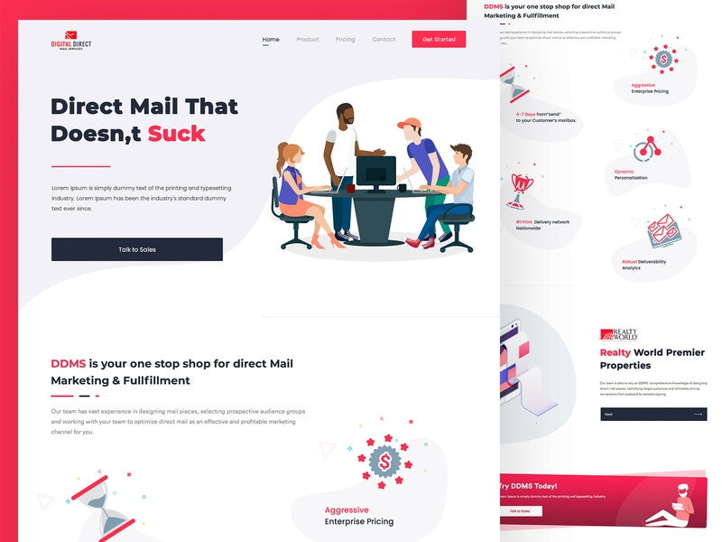 Digital Direct player designers vector neat and clean modern creative website illustration design colorful interface
