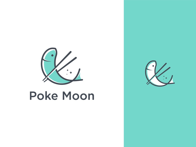 poke moon logo art vector logo minimal illustration icon flat design branding illustrator