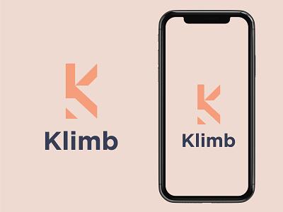 Klimb logo concept app vector minimal logo illustrator illustration flat icon design branding