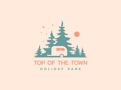 Top of the town holiday park logo concept art app vector minimal logo illustrator illustration icon flat design branding