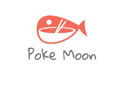 Poke Moon logo vector animation minimal logo typography illustrator illustration icon flat design branding