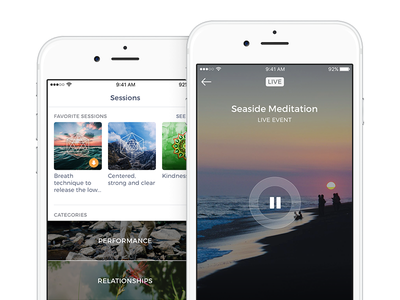 Mindbliss Medidation clean ios ui white ios ui player background ios player live event mindbliss strvcom strv meditation app blur ui meditation