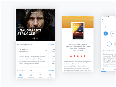 Adobe XD test drive – Book recommendation app + reader reader blue ios ui light cards recommendations book xd adobe