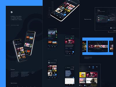 Reimagining Steam - Case Study minimal clean ux ui gaming ios android blue