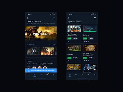 Reimagining Steam - iOS steam ios minimal glow gaming dark ux ui blue
