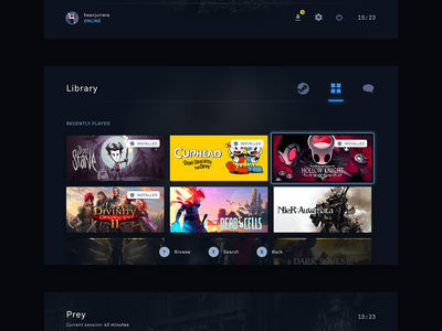 Reimagining Steam - Big Picture Mode steam tv minimal glow gaming dark ux ui blue