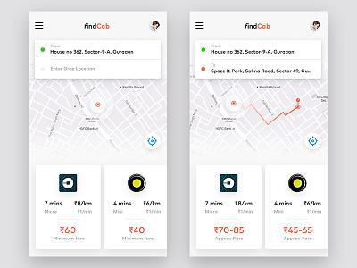 Cab booking app. concept uber ola location search multi-vendor cab booking ux ui card home screen activity