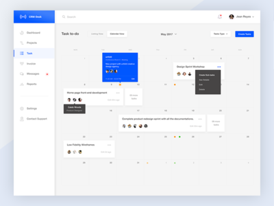Tasks - Calendar View activity user management web ux ui flat dashboard cards calendar schedule to do tasks