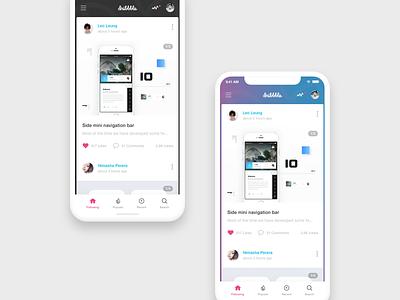 Dribbble App Concept iphone x ios flat interface app interface dribbble app ux ui social navigation find concept card app