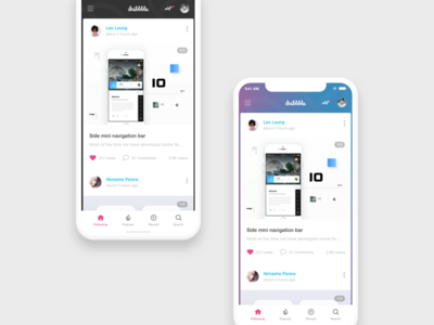 Dribbble App Concept iphone x ios flat interface app interface dribbble app ux ui social navigation find concept card app