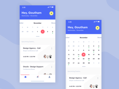 Smart Calendar - Home Screen! landing page dashboard calendar profile mobile map ios events discovery cards app