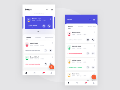 Home - Leads product design schedule planning management interface agenda clean minimal lead mobile card ux ui follow up events app agents search filter booking