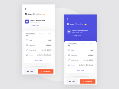 Lead - Dedicated dedicated booking filter search agents app events follow up ui ux card mobile lead minimal clean interface planning schedule product design