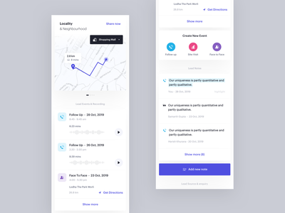 Lead - Dedicated Part 1 locality  neighbourhood create note dedicated page booking agents app events follow up ui ux card mobile lead minimal clean interface planning schedule product design