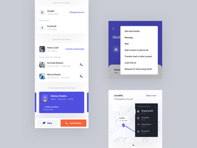 Lead - Dedicated Part 2 product design schedule planning interface clean minimal lead mobile card ux ui follow up events app agents booking dedicated page note create locality  neighbourhood