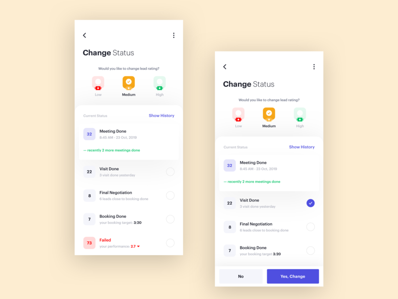 Change Lead Status move change rating status booking filter search agents app ui ux card mobile lead minimal clean agenda interface management product design