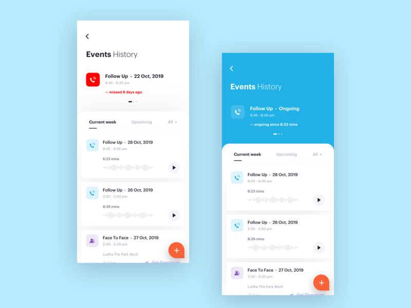 Events History plan filter search agents app events follow up ui ux card mobile lead minimal clean agenda interface management planning schedule product design