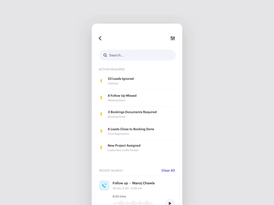 Search events activity mobile interface card clean minimal timer call filter search results interaction input text field alerts motion ux ui search animation