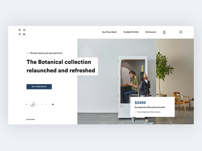 Landing Page - Redesign Concept For Room branding design motion responsive design experience design animated animation phone booth web website user interface clean home landing  page room ui ux minimal