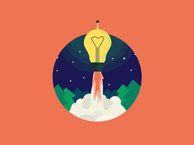 Fast good idea fun flat rocket illustration design