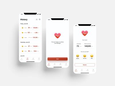 Heart rate measurement app heart heartrate app ui design application app design figma uiux uxui