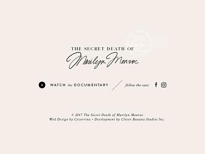 SCD of Marilyn Monroe | Website Design | Footer typography design website footer elegant monroe marilyn