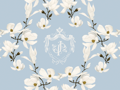 JP Correspondance Card victorian floral jp emblem crest elegant royal baroque pattern magnolia