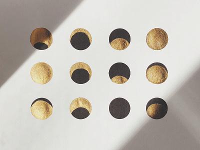 Moons shadows black ink celestial moon gold