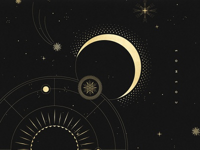 Cosmos moon planets stars gold black cosmos