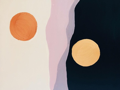 Sunset & Moonrise circle black copper gold canvas painting abstract sun moon acrylic