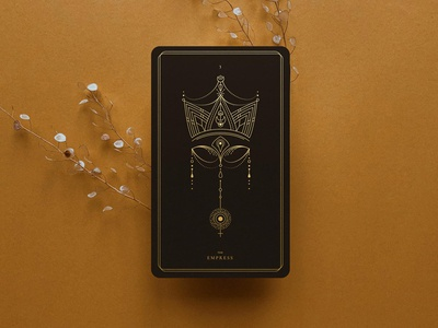 The Empress / Tarot Deck card black gold space cosmic art line tarot empress
