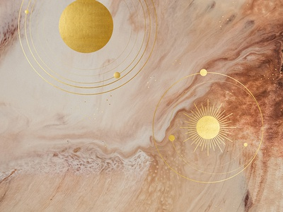 Golden Galaxy galaxy cosmos astronomy planets gold brown beige nude acrylic