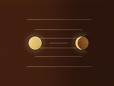 Sun shining on Moon brown gold crescent line dots shine moon sun