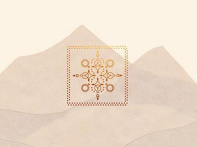 Desert Mountains art line dot sun tribal paper collage desert mountains