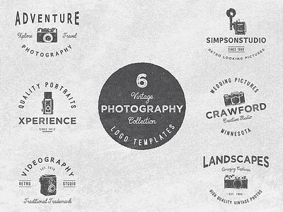 Vintage Potography Logo Collection logo vintage retro emblem label photography camera