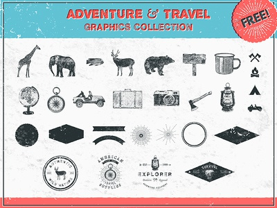 Adventure and Travel Graphics Collection free freebie vector template graphic vintage retro adventure travel download