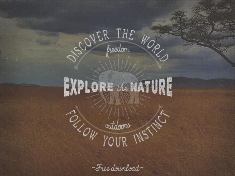 Explore the Nature Logo retro vintage logo free freebie download travel graphic template vector psd