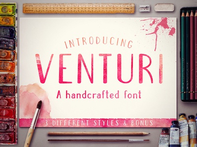 Venturi Typeface watercolor display modern lettering type typeface typography font