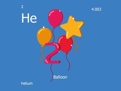 Helium balloon minimal illustration icon flat illustrator graphic design science chemistry periodic table balloon helium