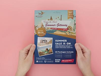 Travel Brochure colourful colorful travel pamphlet travel brochure travel brochure poster flat vector illustration design branding
