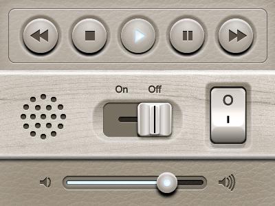 Genesis UI Kit ui ui design interface interface design knob wood iphone ipad user interface leather mobile adobe fireworks fireworks vector audio