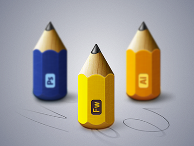 Adobe Pencils adobe fireworks fireworks illustrator photoshop vector icon pencil paper wood cs6