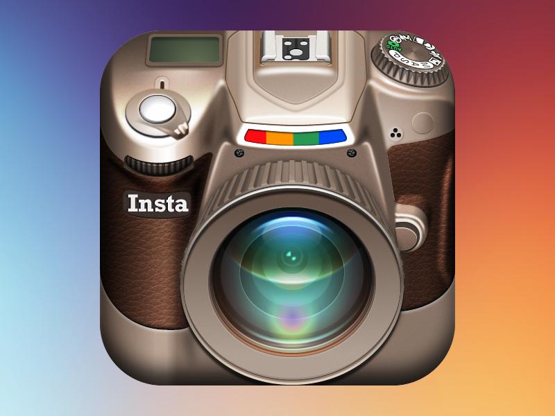 Instagram DSLR iOS Icon lens ipad iphone vector fireworks dslr adobe fireworks leather instagram camera icon ios