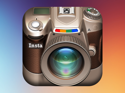 Instagram DSLR iOS Icon lens ipad iphone vector fireworks dslr adobe fireworks leather instagram camera icon ios