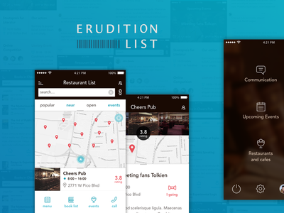 Erudition List app map iphone prototyping book mobile ux ui app
